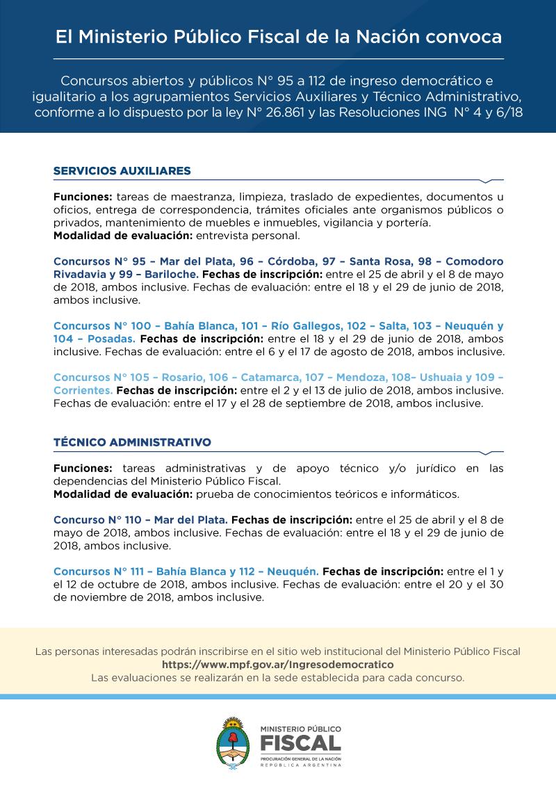 Convocatoria Servicios Auxiliares 2018